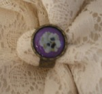 purple pansy ring antique bronze vintage look