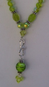 light emerald green beaded drop