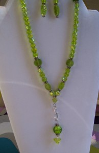 S hook marble bead dangle necklace