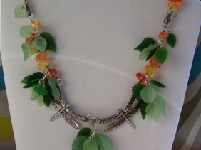 Dragonfly Leaf dangle necklace