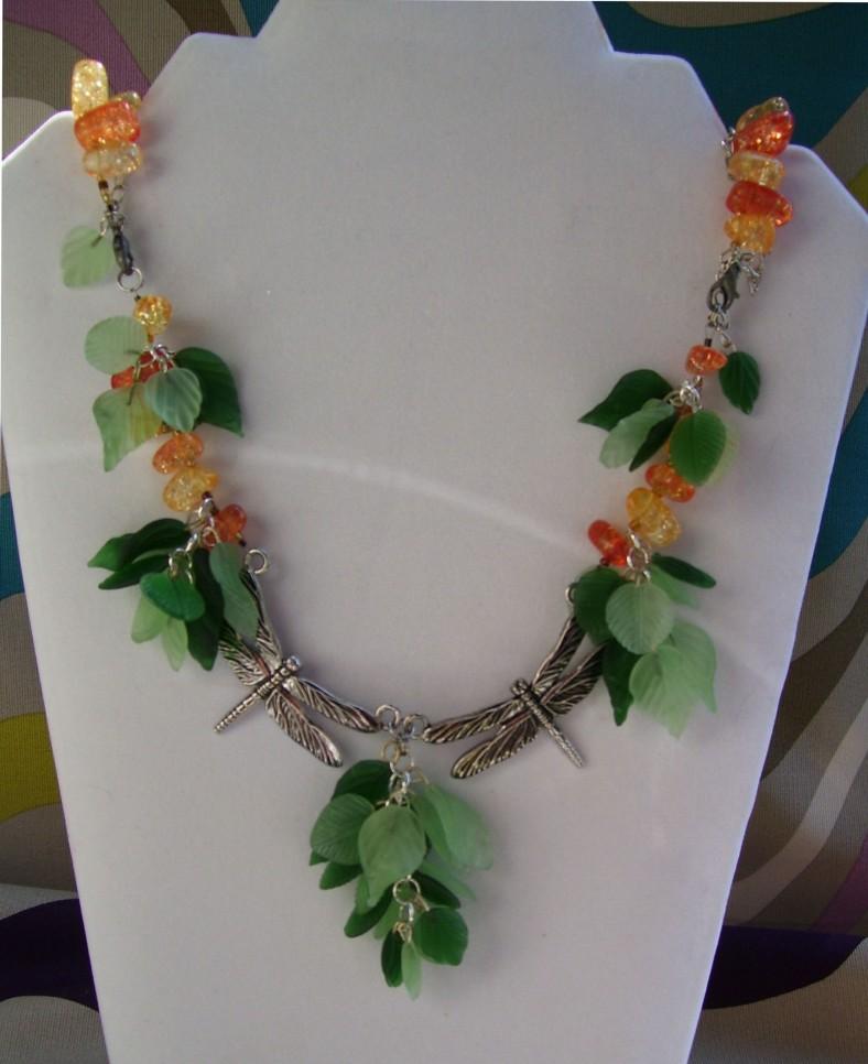 Dragonfly Leaf dangle necklace