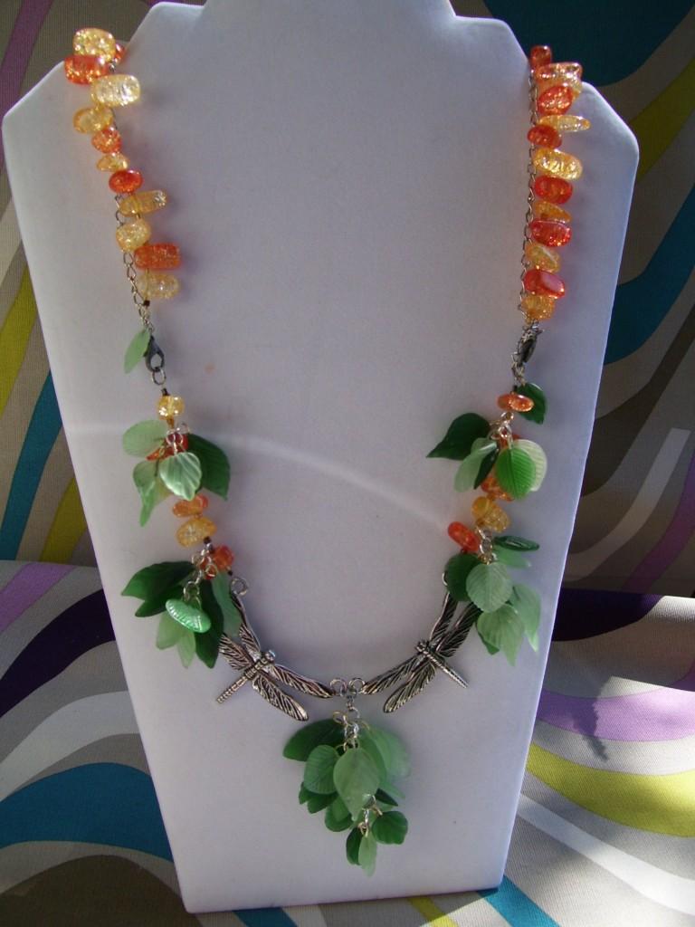 Dragonfly Necklace, Carnelian beaded strand