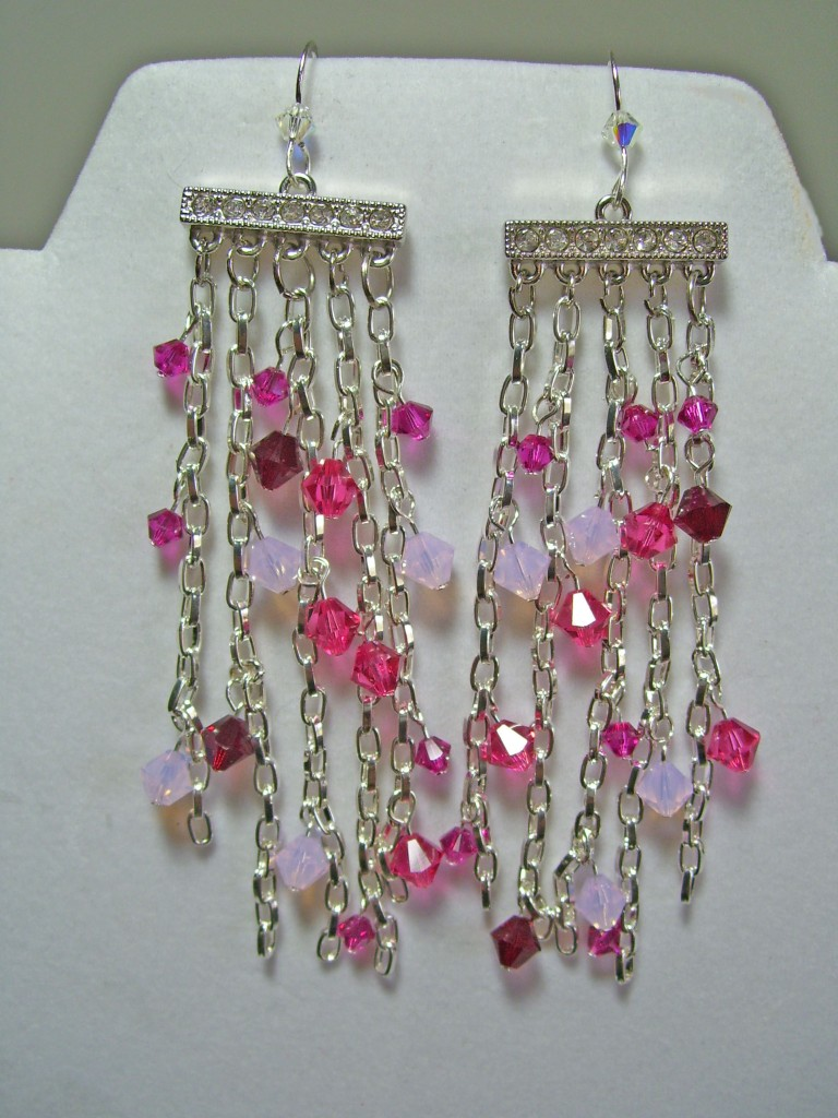 fancy chandelier earrings, swarovski and chain