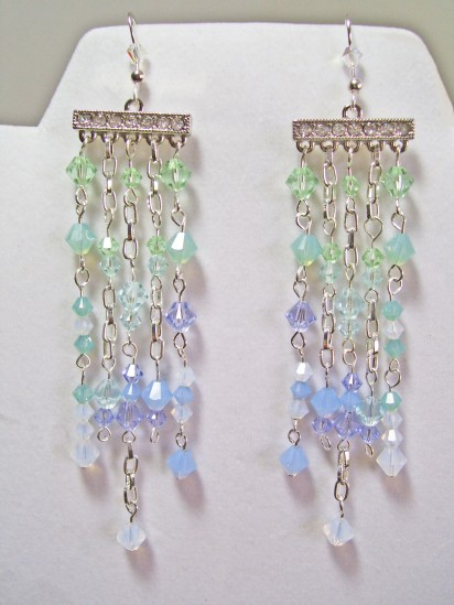 swarovski earrings,  cascace, tones of blue and green
