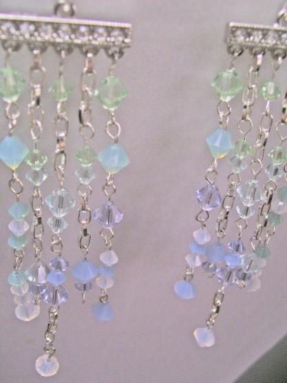 swarovski crystal earrings, cascade, waterfall colors