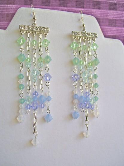 earrings, swarovski crystal, cascade, waterfall