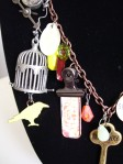 birdcage neon yellow bird charm necklace