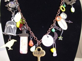 industrial chic birdcage keys tags necklace