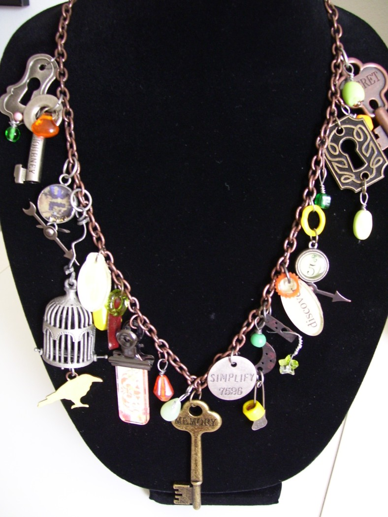 industrial grunge birdcage bird keyhole keys necklace