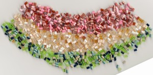 seed bead selection champagne earthy tones greens