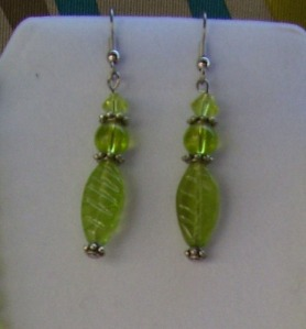 leaf green and crystal earrings