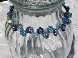 Swarovski necklace blue pearl crystal choker