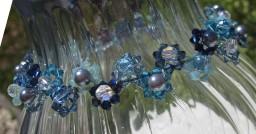 shades of blue Swarovski choker necklace daisy weave