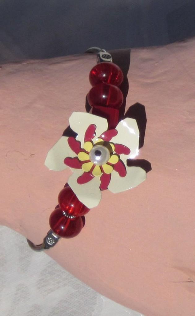 ruby red flower bracelet