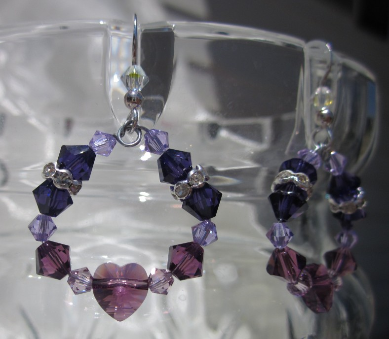 purple heart earrings swarovski crystal