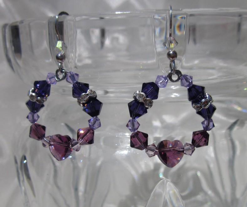 purple heart earrings swarovski crystal