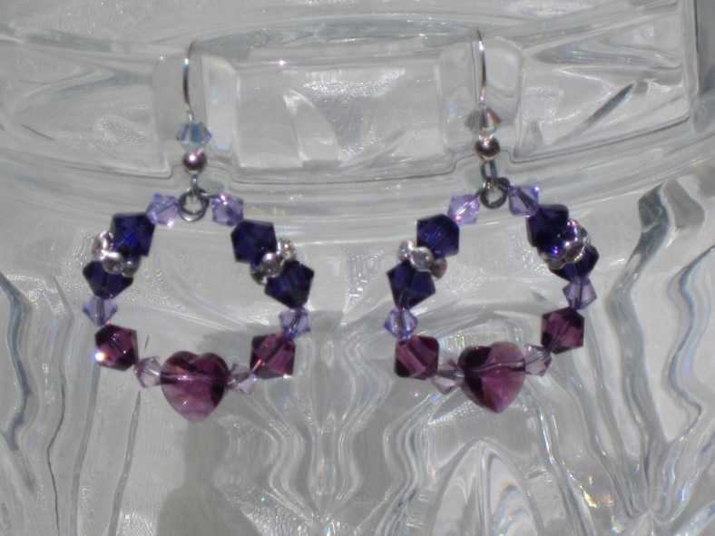 swarovski crystal heart earrings violet purple