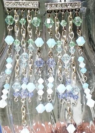 swarovski blue green earrings  3