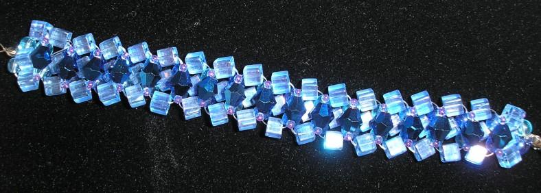 cobalt blue crystal woven bracelet