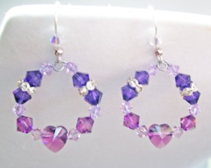 swarovski crystal earrings, amethyst, purple tone loops, heart crystals