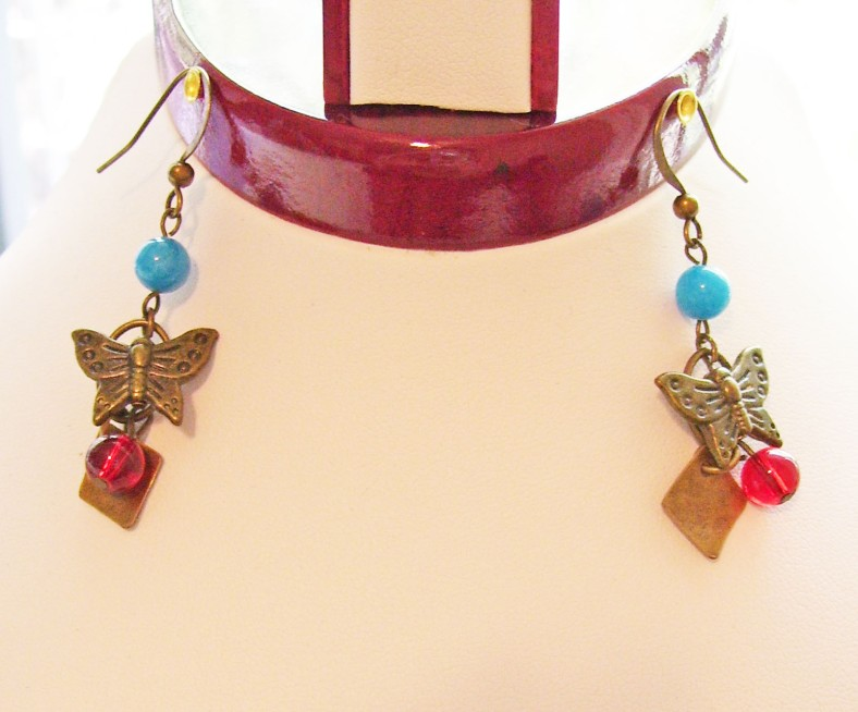 bronze butterfly earrings, red, blue, beads