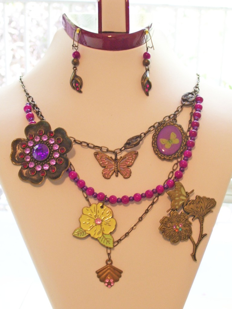 purple crystal brooch, violet beads, butterfly, flower charms necklace