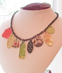 industrial grunge necklace, scrapbook tags, fleur de lis, flowers