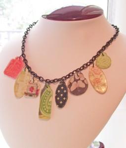 industrial grunge necklace, scrapbook tags, fleur de lis, flowers