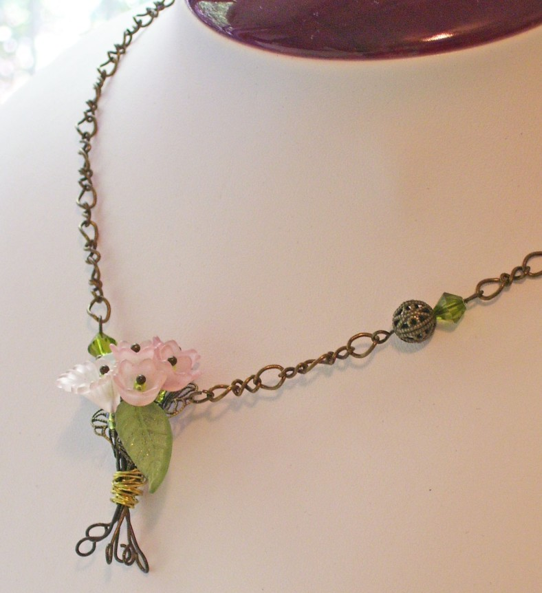 flower bouquet necklace, antique bronze twisted chain, wire wrapping