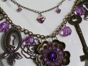 amethyst flower, key, keyhole charm necklace, swarovski crystals