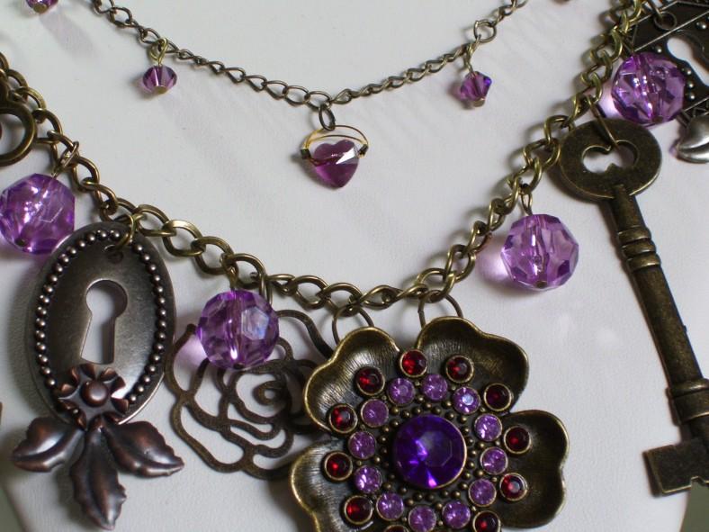 amethyst flower, key, keyhole charm necklace, swarovski crystals