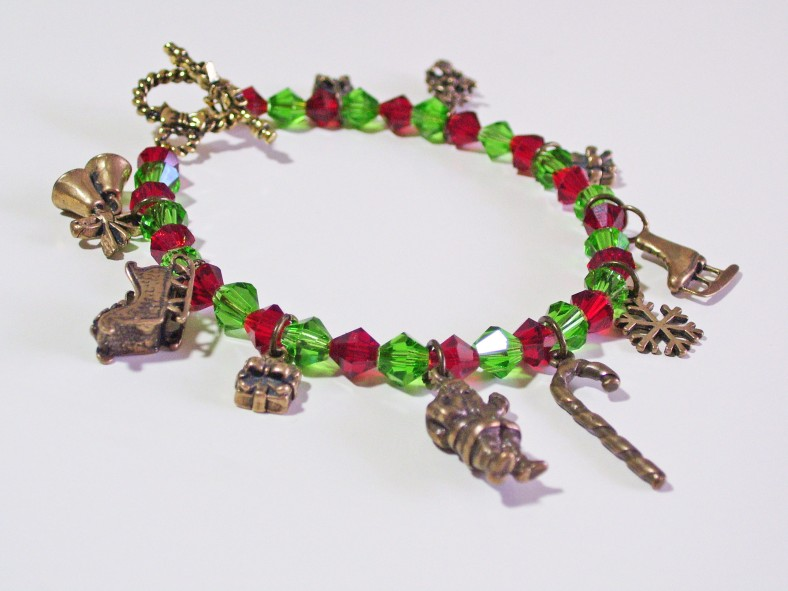 red, green crystals bracelet, antique brass charms