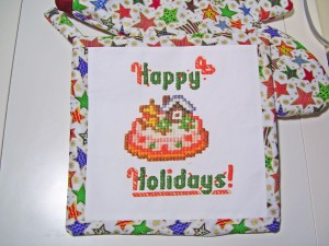 happy holidays pot holder, christmas cake cross stitch design