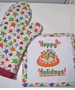 stars oven mitt, potholder, happy holidays, cross stitch