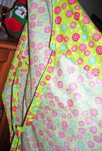 christmas apron, red, green, snowflake fabric, back view