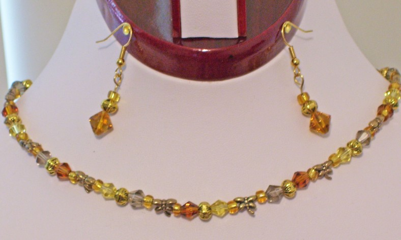 amber and gold dragonfly necklace set