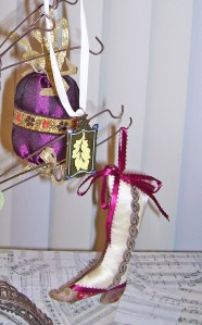 victorian holiday ornament, wine and taupe, gold ribbon tassels