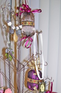 victorian christmas ornaments, taupe and wine, ribbon tassels