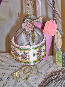 victorian beaded ball ornament, taupe satin, gold tassel