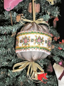 victorian beaded ball ornament, hand beaded design, brown satin ball