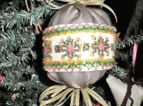 beaded ball ornament closeup, victorian ornament, jewelry ornament
