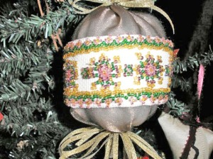 beaded ball ornament closeup, victorian ornament, jewelry ornament