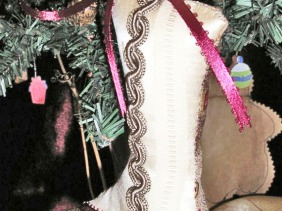Victorian boot holiday ornament, ribbon trim, fabric