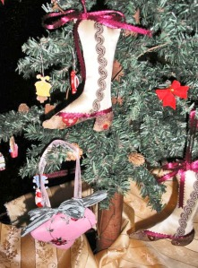 Victorian boot christmas tree ornament, soft sculpture