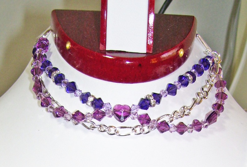 swarovski purple crystals bracelet, silver chain, heart