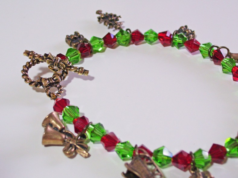 red green crystal christmas charm bracelet