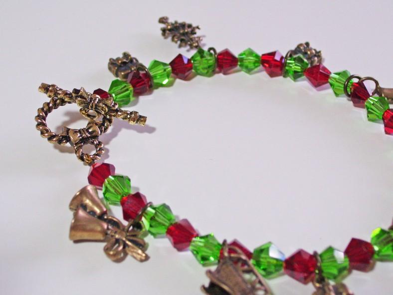red green crystal christmas charm bracelet