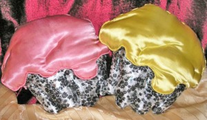 satin pillows, pink or yellow cupcake, holiday decoration