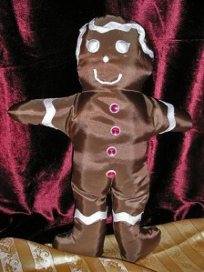 gingerbread girl satin holiday pillow