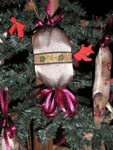 taupe organza ball ornament, burgundy ribbon tassel, floral ribbon accent